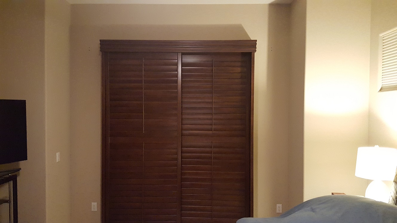 Stained Closed Bypass Basswood Shutter