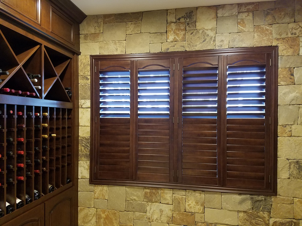 Stained Shutter In Wine Room